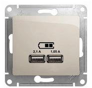 Розетка USB A+A, 5В/2,1 А, 2х5В/1,05 А, механизм - молочный, Schneider Glossa