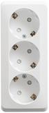 ЭТЮД Розетка тройная открытой установки с заземлением со шторками 16А 250B белый (PA16-012B)