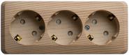 ЭТЮД Розетка тройная открытой установки с заземлением со шторками 16А 250B сосна (PA16-012D)
