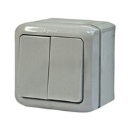 Выключатель 2-х клавишный влагозащищённый - IP44, 10A - серый