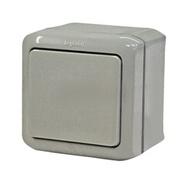 Переключатель проходной 1-но клавишный влагозащищённый - IP44, 10A - серый
