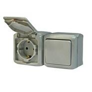 Legrand Quteo Выключатель 1-но клавишный + Розетка с заземлением - IP44 - серый