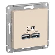 Розетка USB - бежевый, Schneider Atlas Design