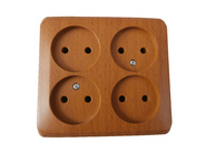 ЭТЮД Розетка четырехместная наружная без заземления без шторок 16А 250B бук (PA16-205T)