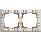 Рамка на 2 поста, WL07-Frame-02 - белое золото, металл, Werkel Antik
