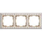 Рамка на 3 поста, WL07-Frame-03 - белое золото, металл, Werkel Antik